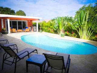 This great Villa is all house and pool.   Decorated with local Art and colours throughout.  Rent as a 3 or 2 bedroom.   All three bedrooms have access to the pool deck  with private en-suite & TV.   Executive kitchen.   Extreme value for large families or, Cabarete