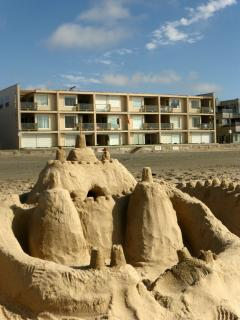 Exterior view of our building from the sand