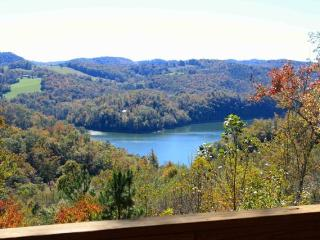 Vista Lael Lodge is a gorgeous vacation cabin with views of Norris Lake surrounded by forest., New Tazewell
