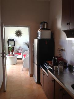 Compact kitchen leading out to Alfresco
