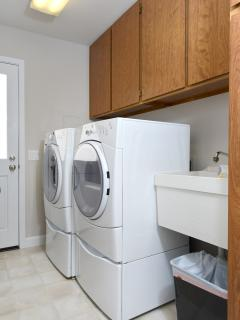 High capacity, new washer and dryer available for your use.