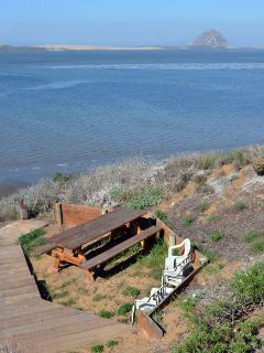 Steps leading down to the private picnic area and the bay.