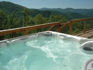 Wengen Chalet - Spectacular Views, Outdoor Hot Tub, Firepit and Screened Porch. Cozy Mountainside Cabin has Game Room and Internet., Bryson City