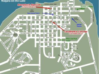 This map shows my two homes as well as the two main theatres and two prominent hotels
