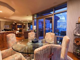 Perched high on the Capitol Square rests an elegant city residence., Madison