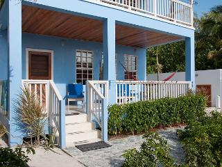 New Beach Front 2 bedroom 1 bath home with private pool, dock, Beach & AC, Caye Caulker