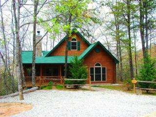 The Chalet at Battle Branch – Tranquil Woods Surround this Easy Access Log Cabin with Wood Burning Fireplace and Outdoor Hot Tub, Bryson City