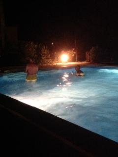 Even at night, the underwater lights still make the pool inviting