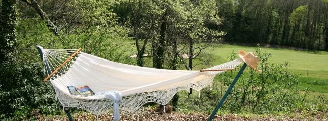 Hammock in the garden. Relax with a book