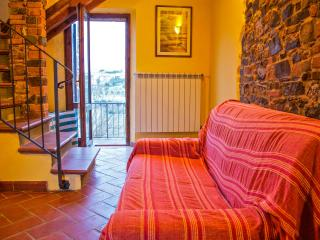 Holiday apartment in Tuscan hillside farmhouse, features terrace, shared pool and garden, sleeps up to 6, Montaione