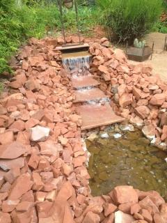 Upper backyard constructed in 2015-  Listen to the waterfall while relaxing in the yard