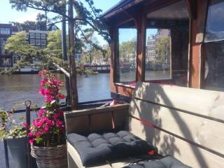 House-boat on the Amstel river, Amsterdam Centre