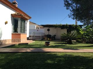 lawned front garden with fruit trees, carport and poolside dining area