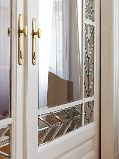 Lead glass door