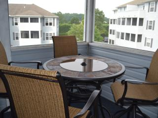 High top dining on screened-in porch for relaxing and enjoying the views