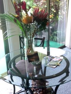 Fresh cut flowers and breakfast goodies welcome our guests upon arrival