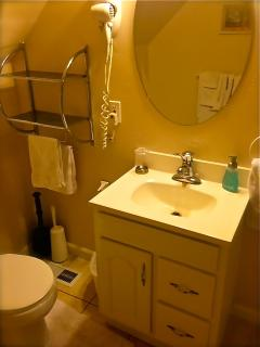 Upstairs hall bath with stall shower