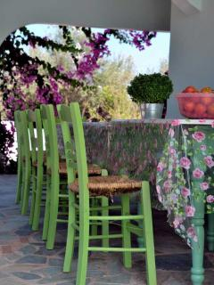 The dining table outside