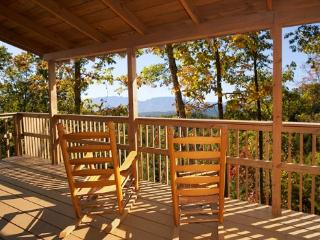 Deck with Rocking Chairs and View of the Smoky Mountains at Mountain Magic