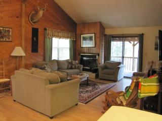 Nice Great Room with sofa, loveseat and easy chair, Wood burning Fireplace, WIFI and Flat screen TV.