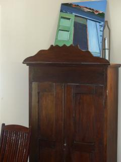 100 year old hutch mixed in with modern furniture