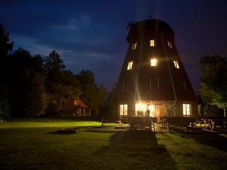 Replica of Old Windmill lake view biggest in Polan, Orzysz
