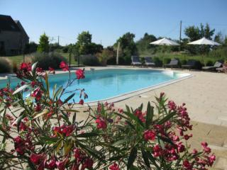 Fabulous heated pool and spacious terraced area, typifying everything at Les Petites Cigognes