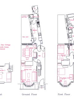 Floor plans illustrating bed locations and other amenities.