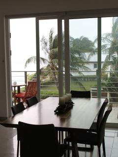 Dining room with a view of patio.