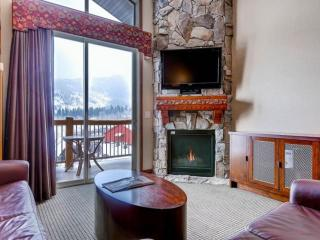 Large living and family room features a floor to ceiling stone fireplace, 42' HDTV and sleeper sofa.