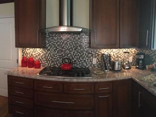 State of the art gourmet kitchen, stainless 5 burner gas cooktop, coffee maker, blender, toaster.