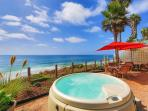 Oceanfront Rental, Large patio, private spa, all amenities included