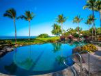 Beach Front Adult Infinity-Edge Heated Swimming Pool set Directly on Wailea Beach