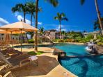 Upper Level Swimming Pool and Hot Tub for Children and Families set within the center area of the Wailea Beach Villas