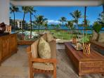 Ocean View Outdoor Covered Veranda and Dining Area with Teak Furniture