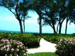 Clubhouse beach path to picnic tables & private beach