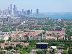 Aerial view of the city from University of Chicago