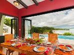 Dining area with beach and ocean views