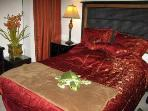Romantic Master Bedroom, Queen Bed, Tropical and Antique Furniture, Mood Lighting & High Ceilings