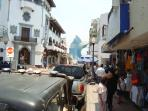 Downtown Manzanillo featuring port sail fish statue landmark (about 10 miles from Penthouse)
