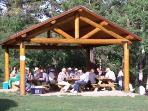Our picnic shelter with its large gas barbeque is the perfect meeting place for family and friends.