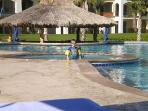 Kids and adults love the 50 meter infinity pool and hot tub