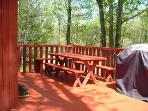 Picnic tables, benches and propane BBQ grill