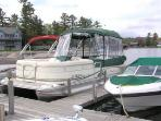 Pontoon boat at the dock we rent in town