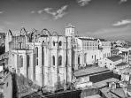 A black and white view of the Carmo Convent ruins