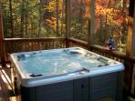 Take a soothing soak in the outdoor hot tub after hiking in Chimney Rock State Park