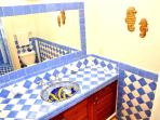 Beautiful Mexican tiles in bathroom