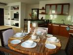 Dining room and spacious fully equipped kitchen