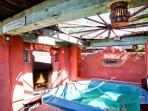 Outdoor Hot tub with Fireplace