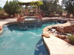 Large fun private pool & spa with outdoor fire pit and fireplace